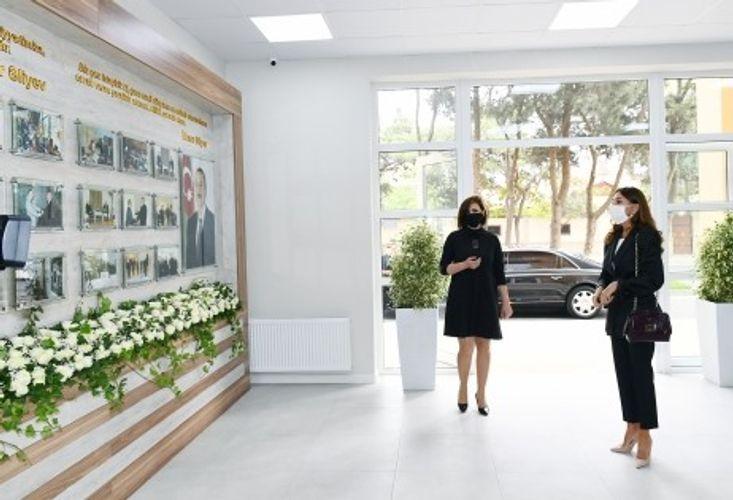 Mehriban Əliyeva Bülbülə qəsəbəsindəki Uşaq İncəsənət Məktəbinin yeni binasının açılışında iştirak edib
