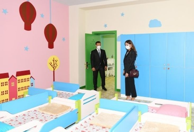 Birinci vitse-prezident Şağan qəsəbəsində 212 saylı uşaq bağçasının yeni binasının açılışını edib