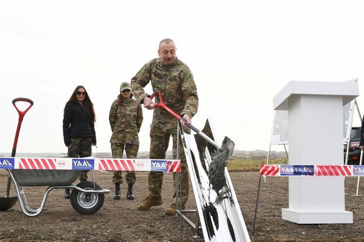 Prezident İlham Əliyev Füzuli beynəlxalq hava limanının təməlini qoydu