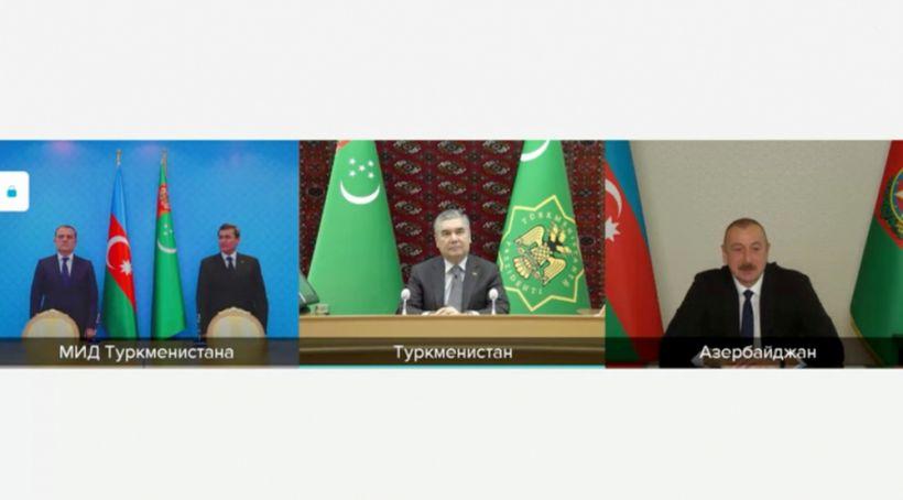 Prezident İlham Əliyevlə Qurbanqulu Berdiməhəmmədov arasında videokonfrans formatında görüş keçirilib