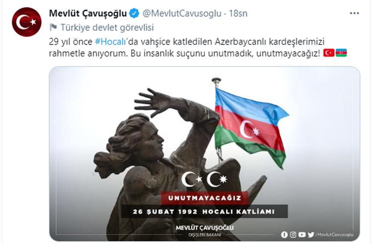 Mövlud Çavuşoğludan Xocalı soyqırımı ilə bağlı  PAYLAŞIM