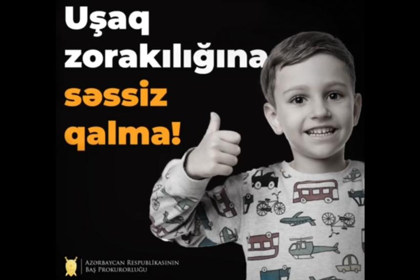 Baş Prokurorluq uşaqların zorakılığa məruz qalması faktları ilə bağlı vətəndaşlara müraciət edib
