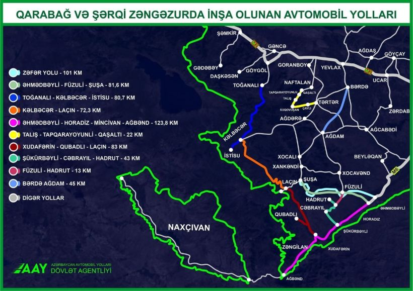 Qarabağ və Şərqi Zəngəzurda çəkilən yolların xəritəsi açıqlandı