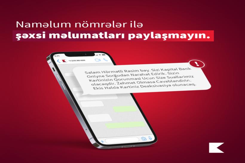 """""""Kapital Bank""""dan xəbərdarlıq:  Kart sahibləri diqqətli olsunlar"""
