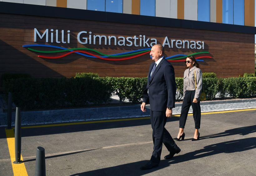Prezident və birinci xanım Milli Gimnastika Arenasının yeni məşq binasında yaradılan şəraitlə tanış olublar